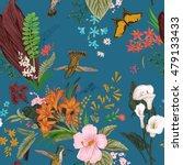 vector seamless vintage floral... | Shutterstock .eps vector #479133433