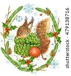 Cute Squirrel. Watercolor...