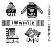 set drawings knitted woolen... | Shutterstock .eps vector #479153374