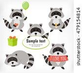 raccoon set with standing... | Shutterstock .eps vector #479154814