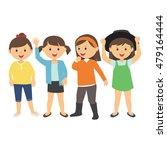 happy girls standing isolated... | Shutterstock .eps vector #479164444