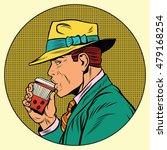 Retro Man Drinking Coffee  Pop...