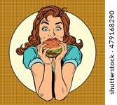 young woman eating burger  pop... | Shutterstock .eps vector #479168290