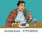 elegant retro man eats in the... | Shutterstock .eps vector #479168320