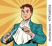 retro man eats  in the hands... | Shutterstock .eps vector #479168326