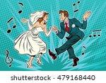 dancing bride and groom  pop... | Shutterstock .eps vector #479168440