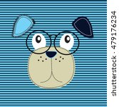 cute dog head with glasses  t... | Shutterstock .eps vector #479176234