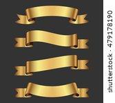 set of golden ribbons   Shutterstock .eps vector #479178190