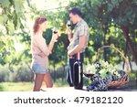 farming couple drinking wine... | Shutterstock . vector #479182120