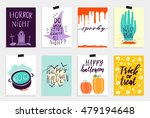 8 halloween cards set in quirky ... | Shutterstock .eps vector #479194648