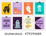 8 halloween cards set in quirky ... | Shutterstock .eps vector #479194684