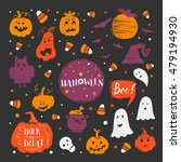 vector set of halloween design... | Shutterstock .eps vector #479194930