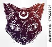 black cat head portrait with...   Shutterstock .eps vector #479229829