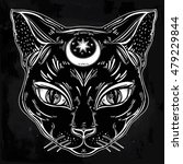 black cat head portrait with... | Shutterstock .eps vector #479229844