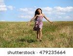 happy little girl running in... | Shutterstock . vector #479235664