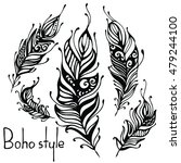 hand drawn feathers. ink vector ... | Shutterstock .eps vector #479244100