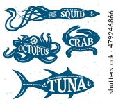 seafood quote set placed on... | Shutterstock .eps vector #479246866