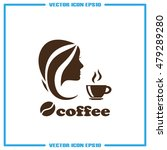 coffee cup woman icon vector