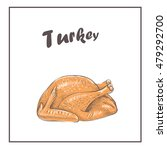 turkey. turkey  roast cooked . ... | Shutterstock .eps vector #479292700