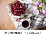 bowl with fresh cherry berries... | Shutterstock . vector #479301214
