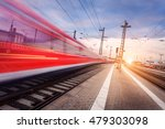 high speed red passenger train... | Shutterstock . vector #479303098