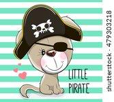 Cute Cartoon Puppy In A Pirate...