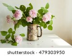 silver vase with fresh pink... | Shutterstock . vector #479303950