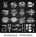 seafood labels  logo chalk... | Shutterstock .eps vector #479314660