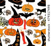 seamless pattern for halloween... | Shutterstock .eps vector #479317498