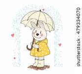 cute bunny with umbrella in the ... | Shutterstock .eps vector #479334070