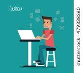 cartoon man and freelance design | Shutterstock .eps vector #479338360