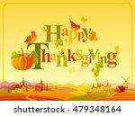 happy thanksgiving autumn logo... | Shutterstock .eps vector #479348164