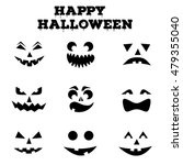 Stock vector collection of halloween pumpkins carved faces silhouettes black and white images template with 479355040