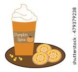 pumpkin coffee and cookies | Shutterstock .eps vector #479379238