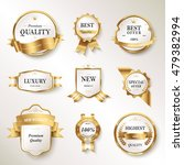 elegant pearl white labels set  ... | Shutterstock . vector #479382994