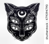 black cat head portrait with... | Shutterstock .eps vector #479394790