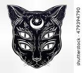 black cat head portrait with...   Shutterstock .eps vector #479394790
