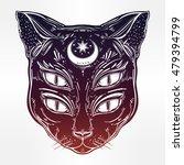 black cat head portrait with...   Shutterstock .eps vector #479394799