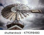 Dutch Windmills With Dramatic...