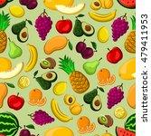 fresh fruits seamless pattern...   Shutterstock .eps vector #479411953