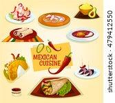 mexican cuisine taco  burrito... | Shutterstock .eps vector #479412550