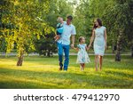 happy young family of four... | Shutterstock . vector #479412970
