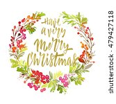 christmas card. watercolor... | Shutterstock . vector #479427118