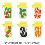 set of pickled jars with... | Shutterstock .eps vector #479439604