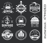 seafood monochrome emblems of... | Shutterstock .eps vector #479442823