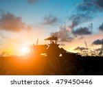 silhouette farmer in tractor... | Shutterstock . vector #479450446
