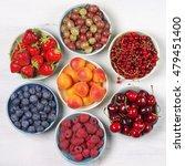 various fresh fruits in bowls... | Shutterstock . vector #479451400