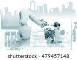 robotic arm and machine tool at ... | Shutterstock . vector #479457148