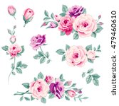 Stock vector vector set of pink roses and buds decorative floral elements for page decor 479460610