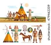 vector set of american indian... | Shutterstock .eps vector #479462209